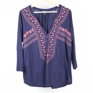 Lucky Brand Womens Blouse Tunic Embroidered Size M